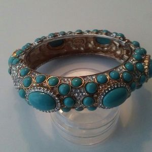 KJL Kenneth Jay Lane Blue Cabochon Bangle Bracelet
